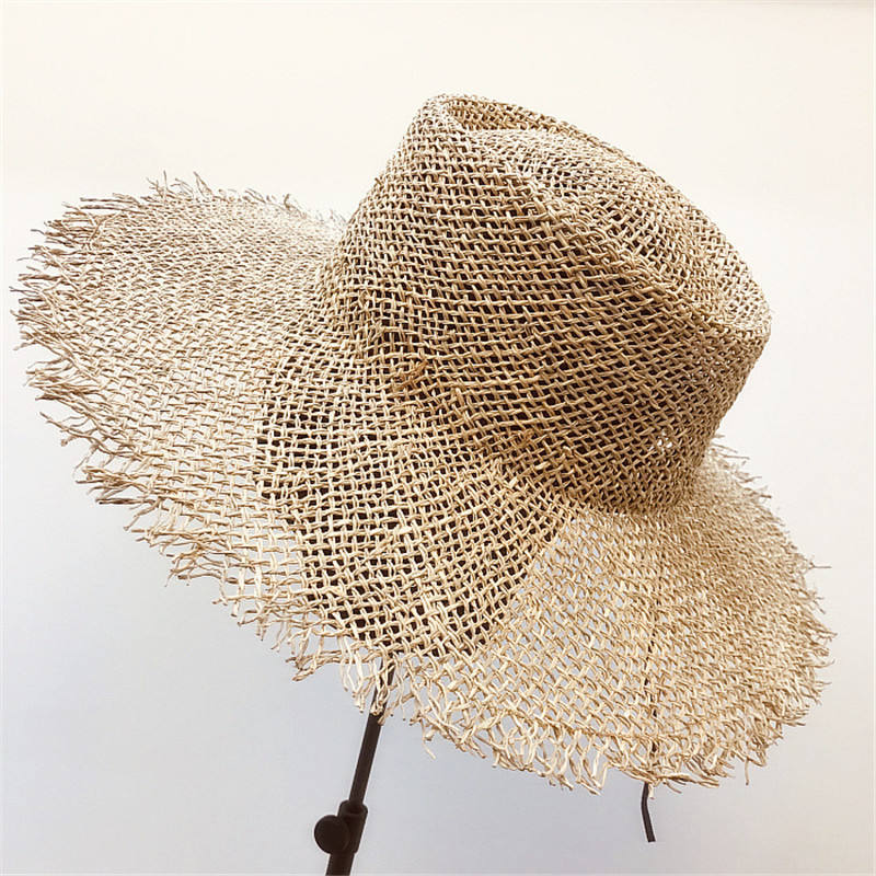 Hand Made Retro Design Sun Visor Hat Mesh Hole Beach Fisherman's Hat For Wholesale Sisal Straw Hat Wide Brim
