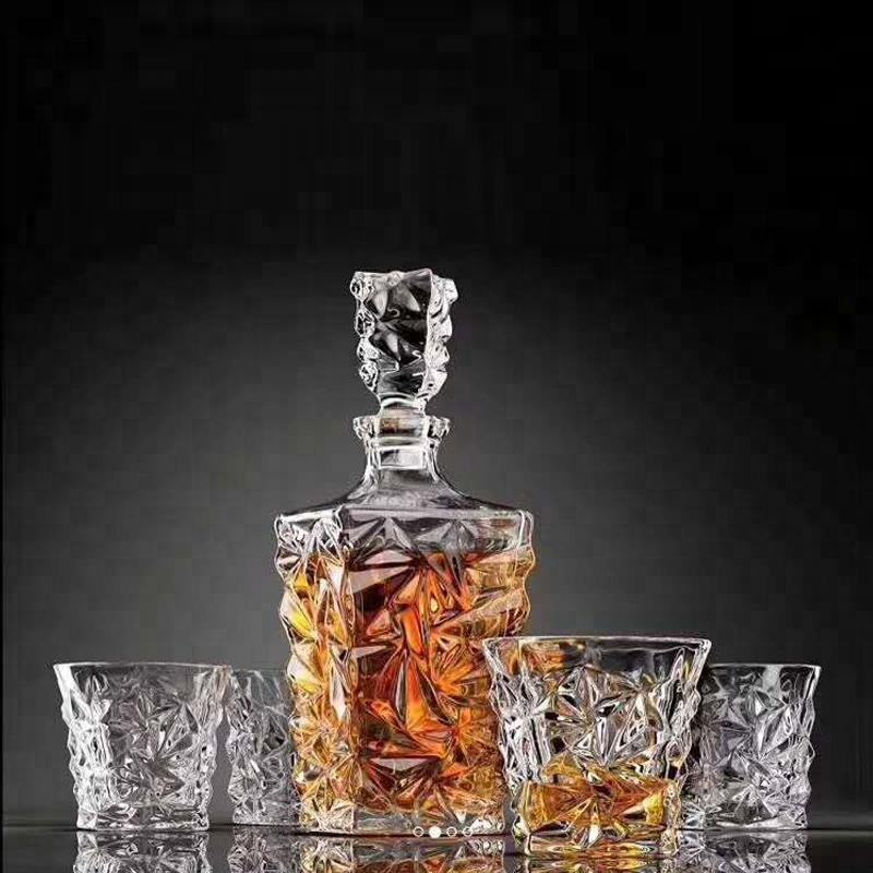 promotion sale diamond style 7pcs whiskey wine Glass decanter set whiskey glass cup at home GB11571