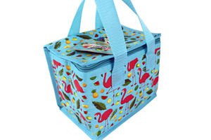 Custom blue insulated lunch box cooler bag