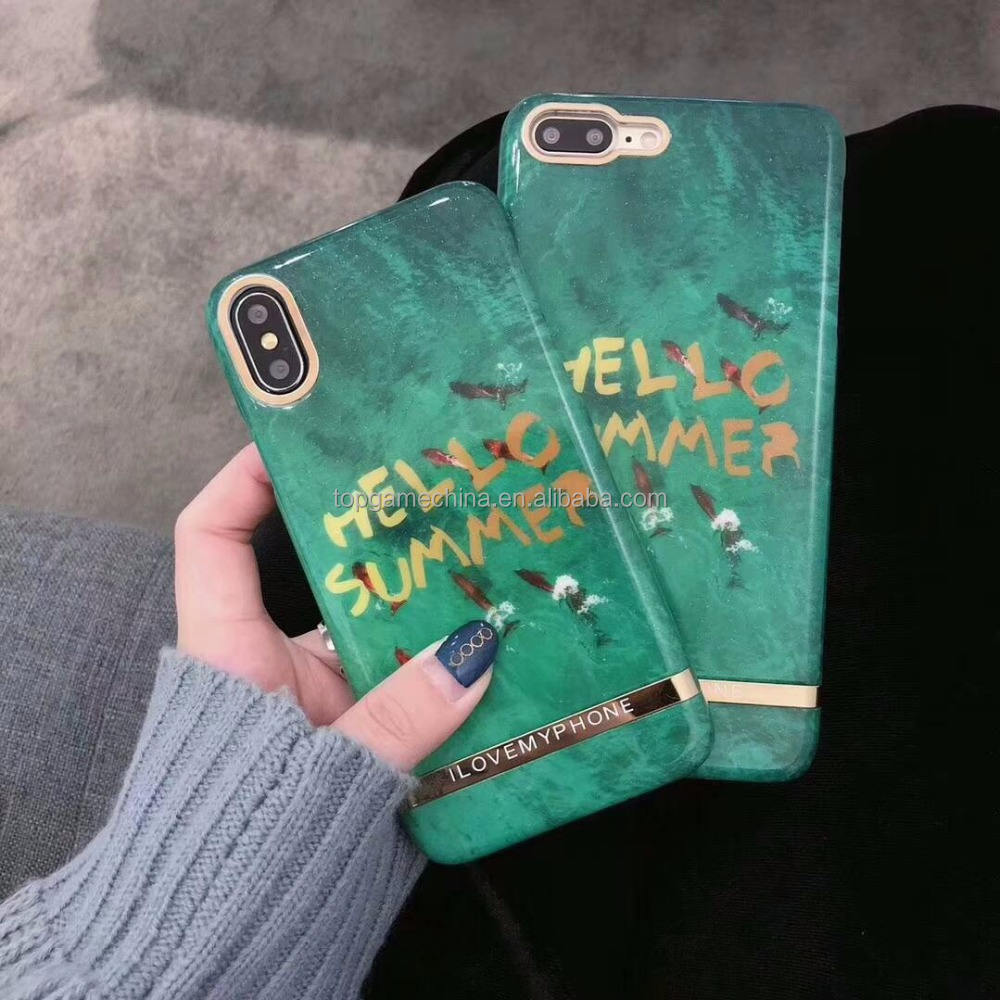 Hello Summer English Letter Hard PC Phone Case For iPhone X 7 8 Plus Phone Cover Case