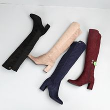 Good quality manufacturers high knee wellington low heel boot for lady