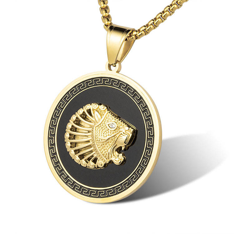 Marlary 쿨 큰 14 천개 금 Plated Stainless Steel Charm Jewelry Black Enamel Lion 펜 던 트 대 한 Men