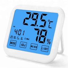 Window Weather Wall Mount Clock And Hygrometer Promotional Digital Smart Touch Screen Thermometer