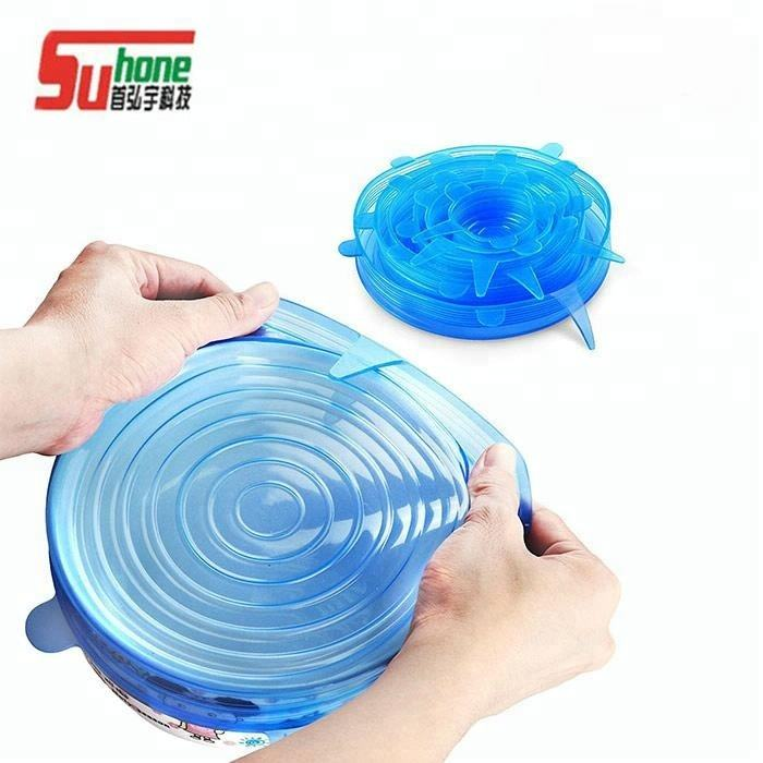 Kitchen FDA Food Grade 6 Pack Bpa Free Reusable Flexible Silicone Stretch Lids
