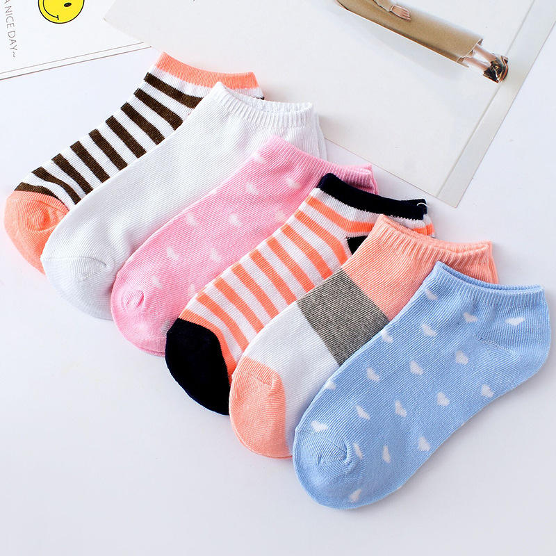 Youki women's ladies cheap wholesale colorful summer high quality stripe Stars short ankle socks