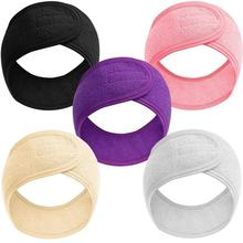 Spa Facial Headband Whaline Head Wrap Terry Cloth Headband Stretch Towel with Magic Tape for Bath, Makeup and Sport