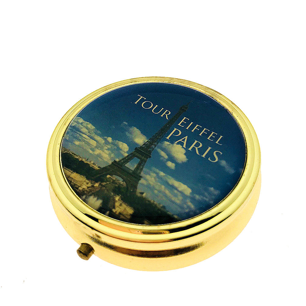 Wholesale Metal Round Shape Fancy Souvenir Gift Travel Small Pocket Pill Box Storage Case