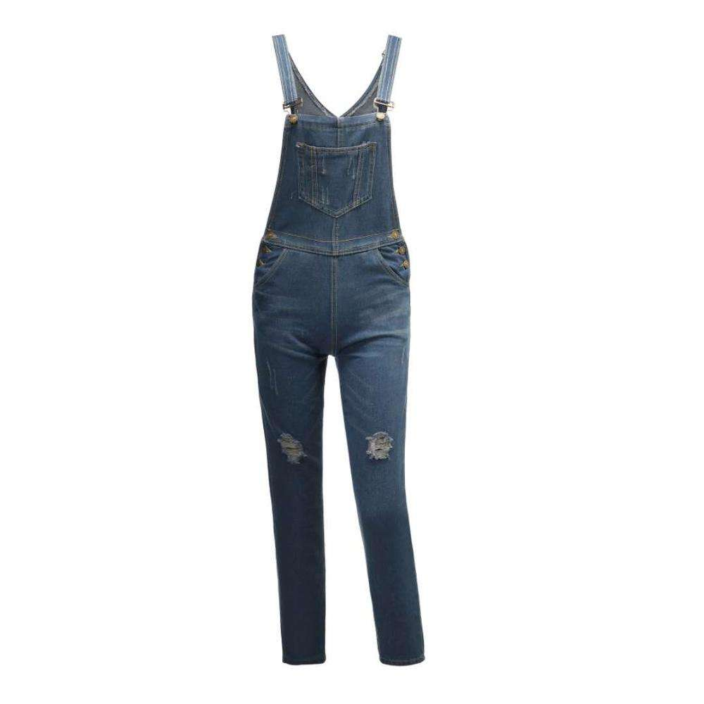 Foreign trade hot factory direct new Europe and Europe hole jeans women's bib