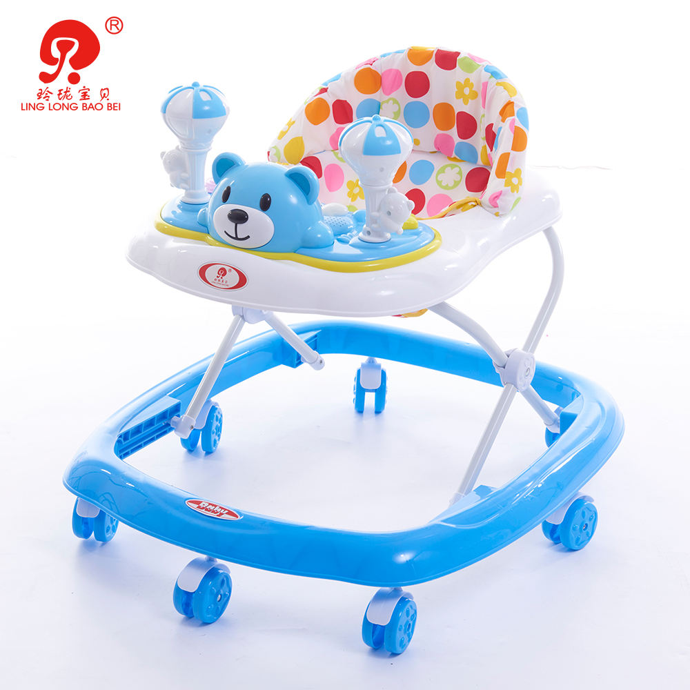 China kids learn to walk cartoon walking toy chair musical baby walker with stopper for children