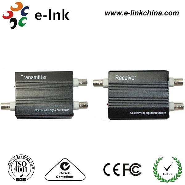 Pair 2 Channel Video Signal Coaxial Multiplexer For Standard Analog Cameras