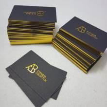 Custom luxury black gold foil recycled business card printing with golden border / edge