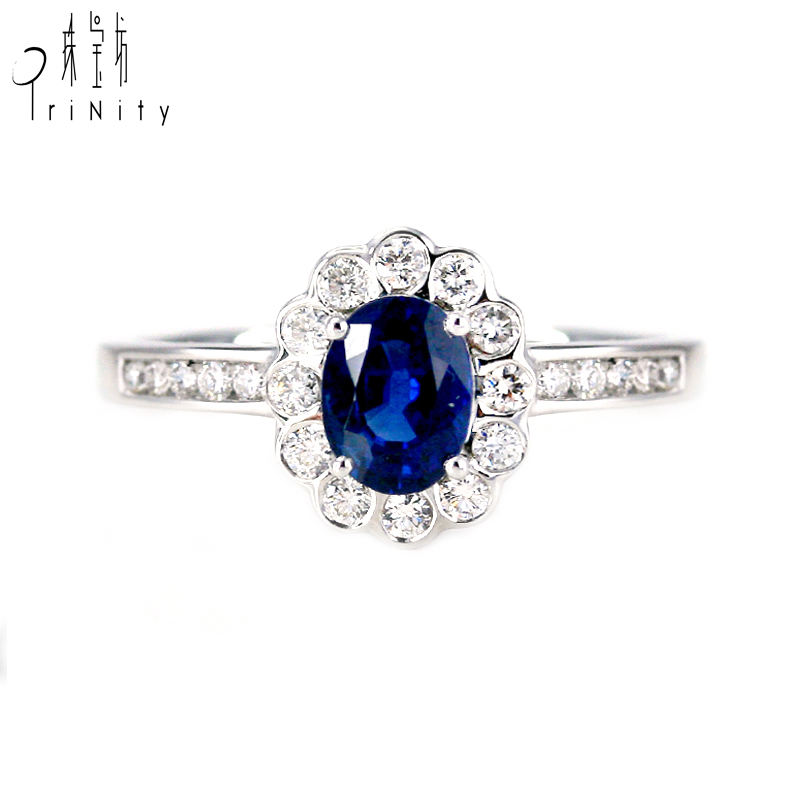 High Quality 1 Carat Real Natural Blue Sapphire Gemstones Genuine Diamond Celtic Ring, Rings for women men