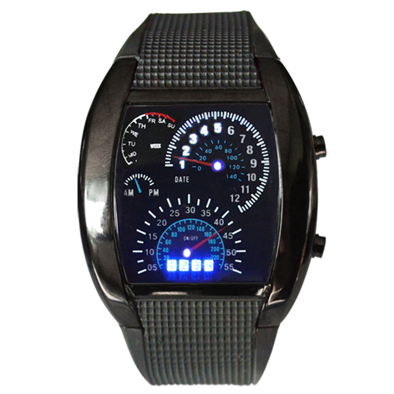 TADA DROP SHIPPING Fashion Aviation Turbo Dial Flash LED Watch Gift Mens Lady Sports Car Meter men's watch