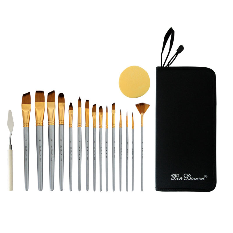 Baru 17 Seniman Lukisan Brush Set Profesional Seni Cat Air Kuas Cat Set untuk Seniman