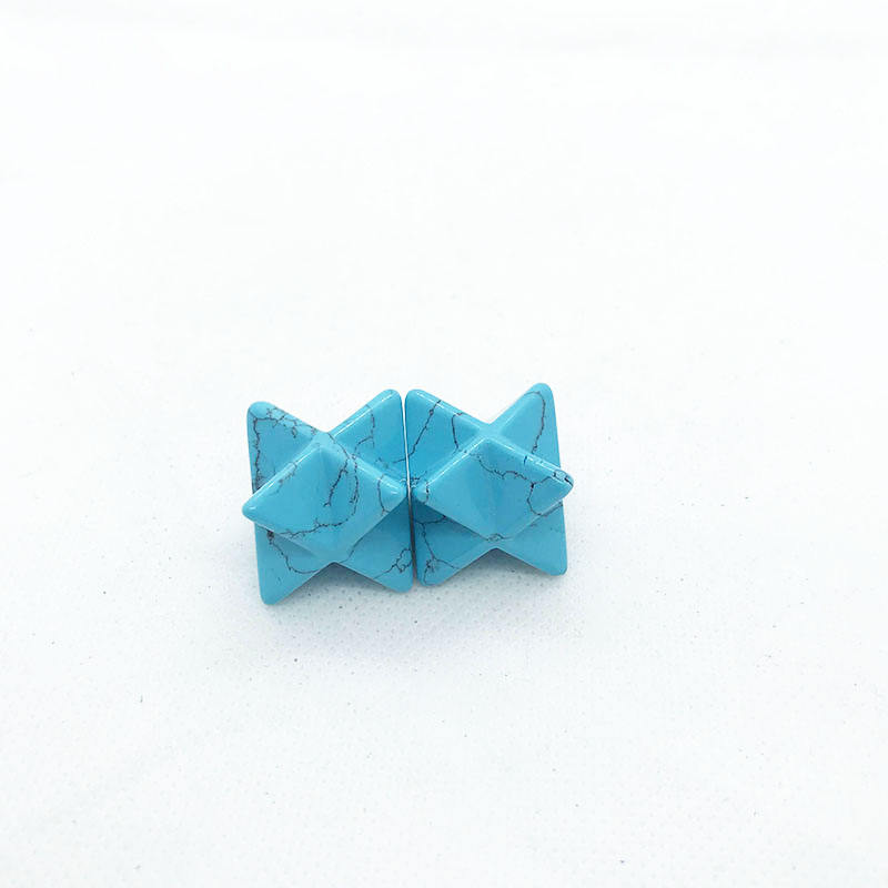 High quality hand carved blue turquoise octagonal star crystal