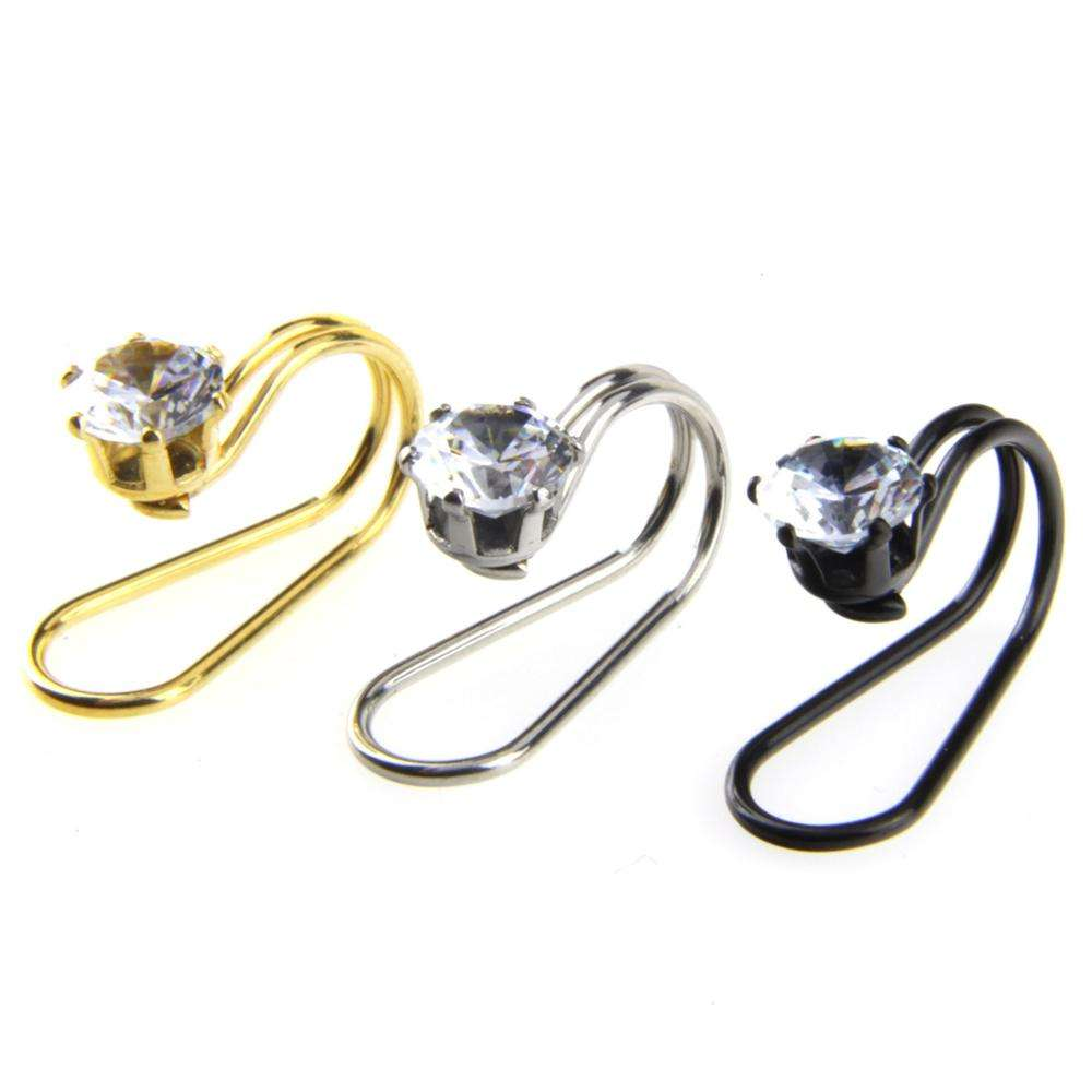 VRIUA Factory Direct Stainless Steel Puncture Ear Clip U-Shaped Crystal Zircon Ear Bone Clip