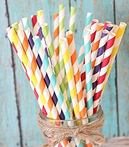disposable colored eco-friendly beautiful striped paper straws