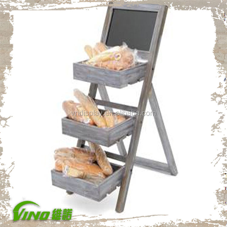 3-tier Brood Display Rack, hout Rack Display Plank, hout Vouwen Display Plank