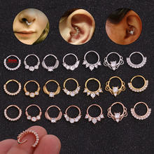 8mm Open Cz Hoop Daith Earring Nose Septum Piercing Jewelry Cartilage Helix Rook Ear Ring Wholesale