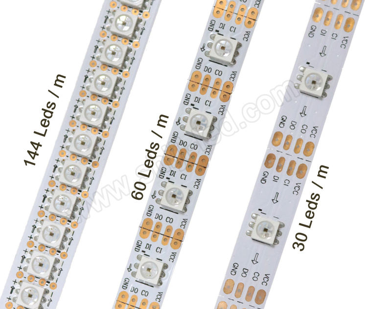 sk9822 5050 smd apa102 60 leds/m 5050 addressable rgb led strip flexible pcb
