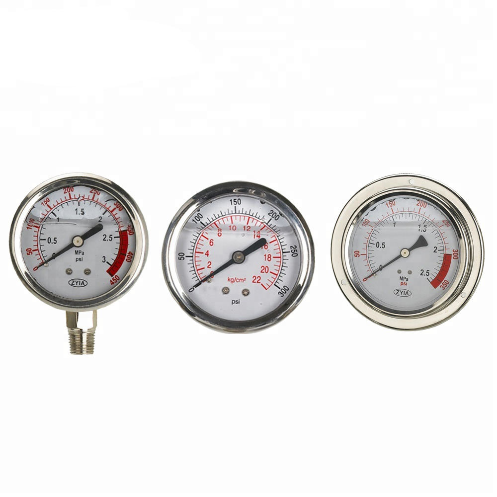 Factory Price Stainless Steel Liquid Water Filled High Pressure Gauge Meter 10Bar