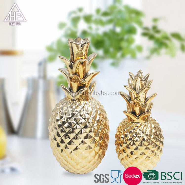 gold and silver plated ceramic pineapples wholesale decor