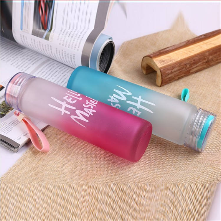 reusable 350ml 500ml empty frosted custom logo water glass drinking bottle