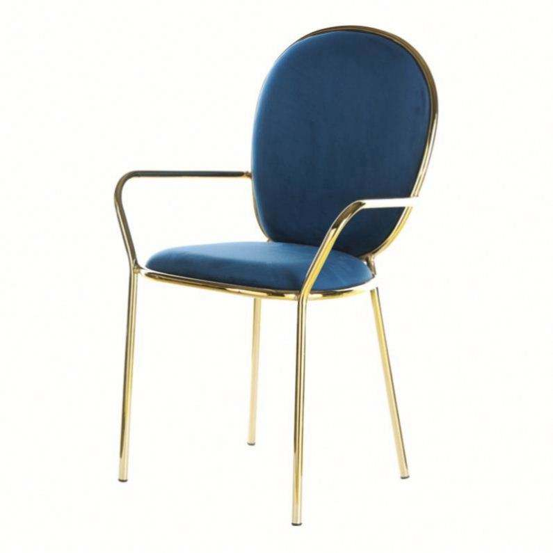 Wedding event party restaurant furniture fabric metal armrest dining chair Italian style chair with metal legs