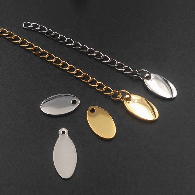 Round Oval pendentif Engraved logo Gold Dog Necklace Metal Blank Necklaces Heart Stainless Steel Jewelry Charms Custom Pendant