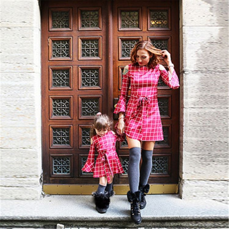 Dew Shoulder European Autumn Tartan Dress Mommy And Me Apparel