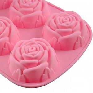 Food Grade Silicone 6 Cavities Rose Design Mold for Handmade Soap Cupcake  Jelly  Pudding and Chocolate