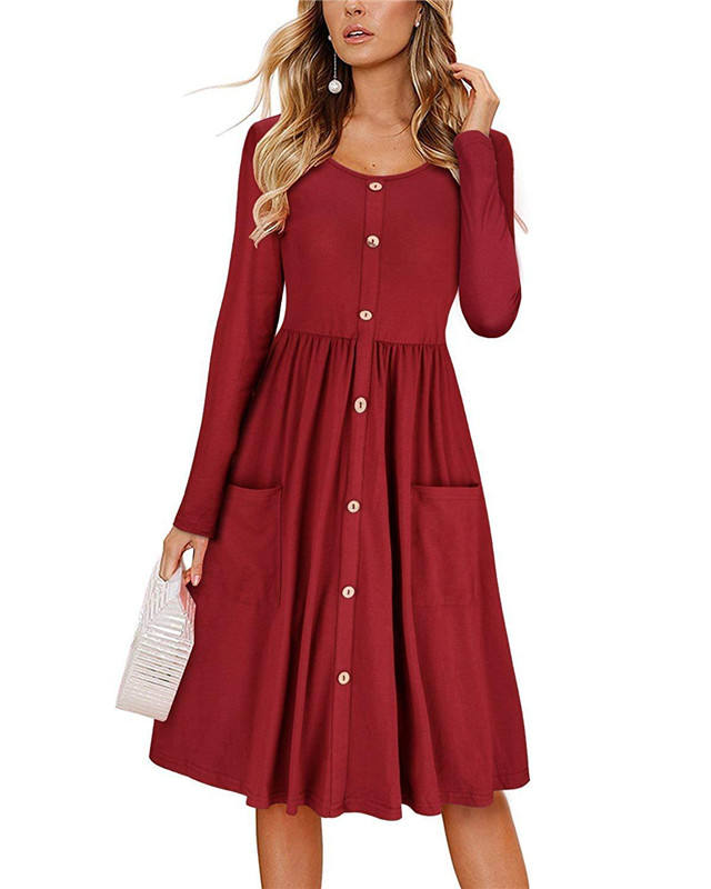 Chic Femmes Bouton <span class=keywords><strong>Décor</strong></span> Une Ligne Robe Poche Col Rond Manches Longues Ourlet Vêtements