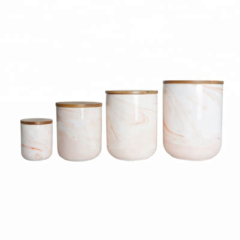 Wholesale Porcelain Coffee Tea Sugar Canister Sets Ceramic Marble Canister mit Bamboo Lid