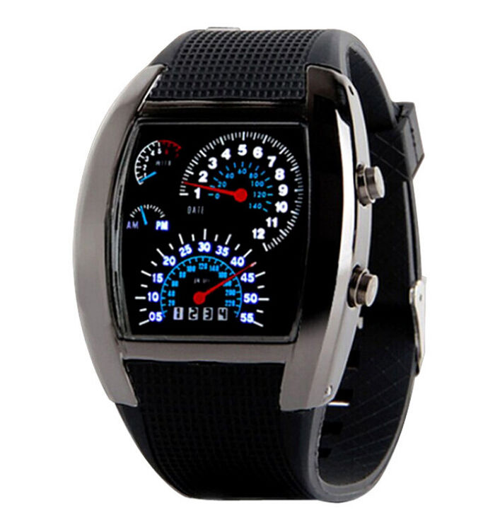 Fashion Sports RPM Turbo Flash LED Car Speed Meter Dial led watches men wristwatch charm watch for men, women, children