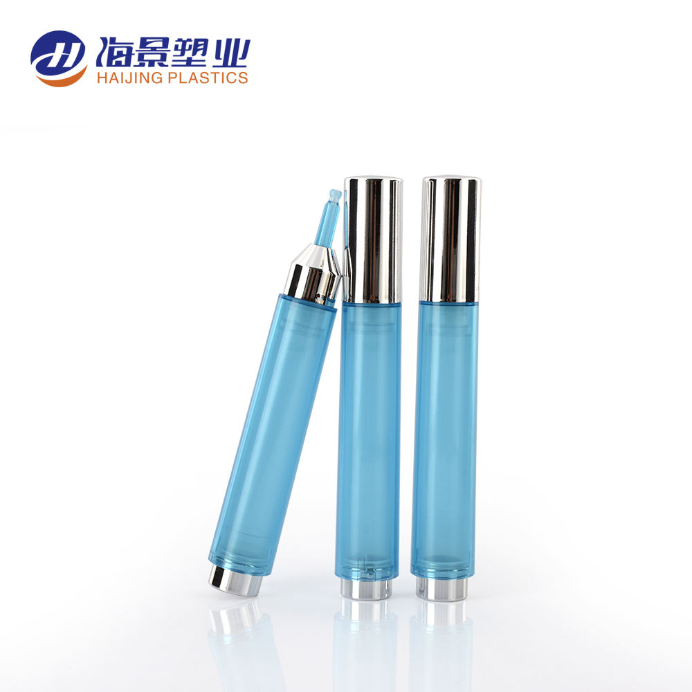 Cosmetic dual layer round applicator container syringe shaped unique airless injection 10ml 15ml eye cream bottles