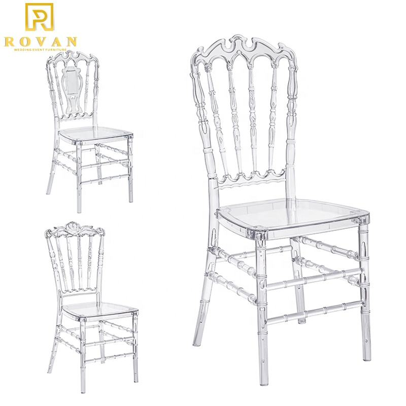 Wholesale Crown Crystal Chair Polycarbonate Crystal Clear Wedding Chairs And Event Stackable Napoleon Chair