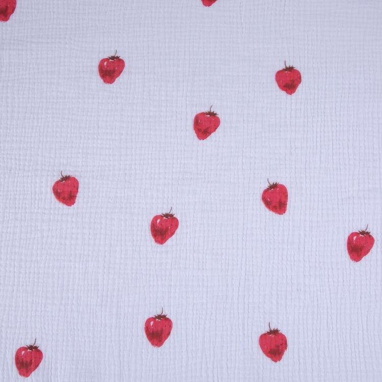 Cartoon pattern custom print strawberry double layer 100% cotton muslin fabric for baby kids dress