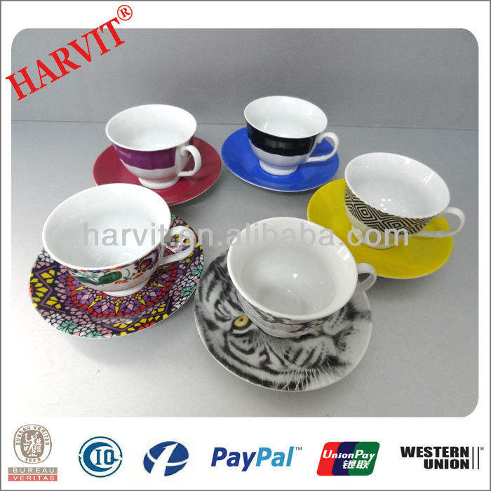 2013 Stock 200ml Ceramic Coffee Cups and Saucers