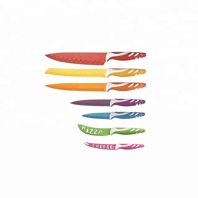 Hot selling 7pcs color non stick coating knife set