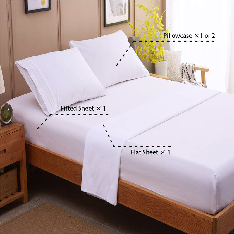 Queen Size 250TC Plain White 100% Cotton Fitted Bed Sheet Set