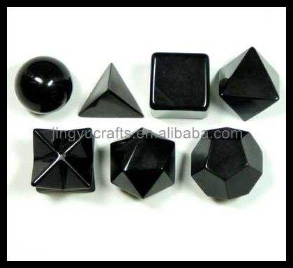 Wholesale Natural Gemstone Healing Crystal Black Obsidian Professional Sacred Geometry Platonic Sets