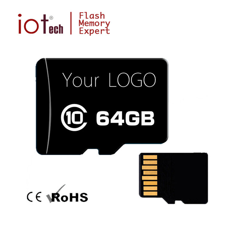 Custom Brand OEM 32GB 64GB Memory Card Class 10 SD Micro Card with Adapter
