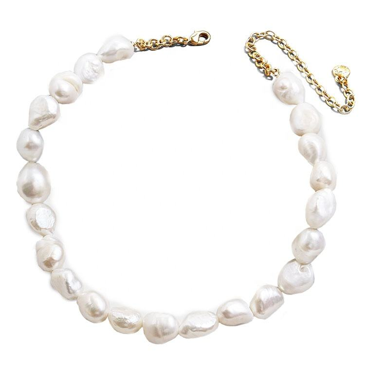 Natural Jewlery Stainless steel Chain Good Quality Pink & White Oval Fresh Water Pearl Necklace Chocker