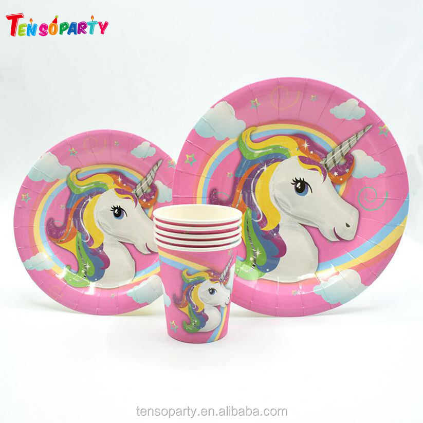 Hot Sale Unicorn Party Favor Theme Decoration Birthday Unicorn Supplies Plate / Cup Set