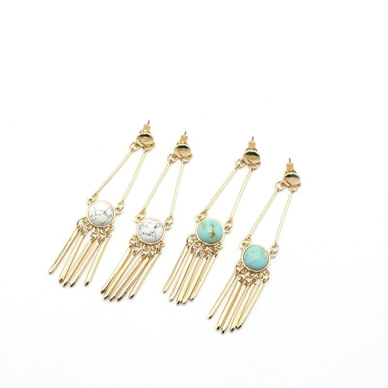 European Design Women's Jewelry,Personality Inlay Turquoise Howlite Stone Long Stud Earrings With Long Gold Alloy Tassel