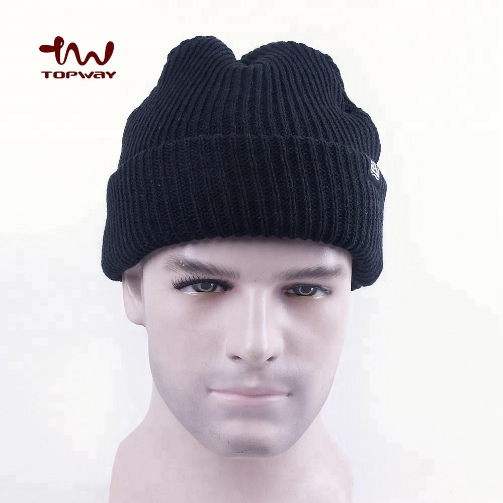 New Quality Blank Plain Black Long Skull Fold Unfold Cuffed Beanie Winter Hat