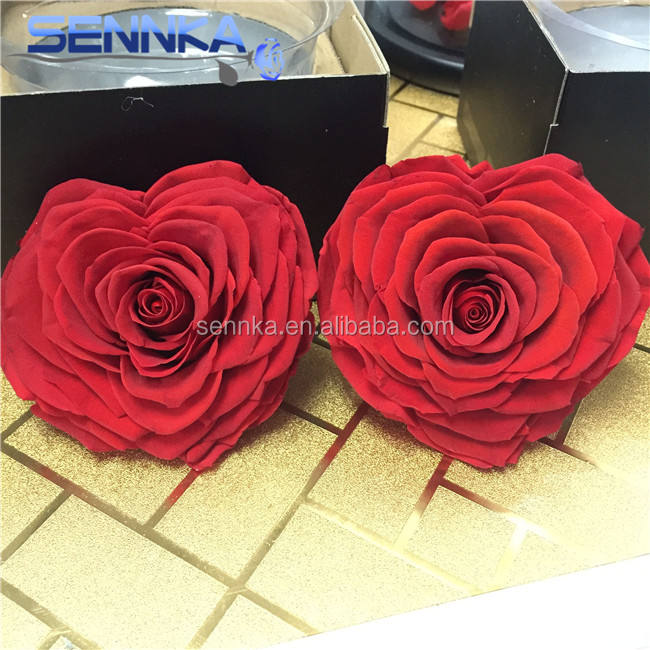 Luxury Heart Shape Big Rose Head Preserved With Gift Box