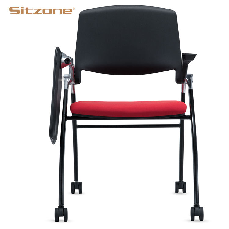 2020 Conference Room Plastic Frame Foam Seat Training Chair With Writing Pad