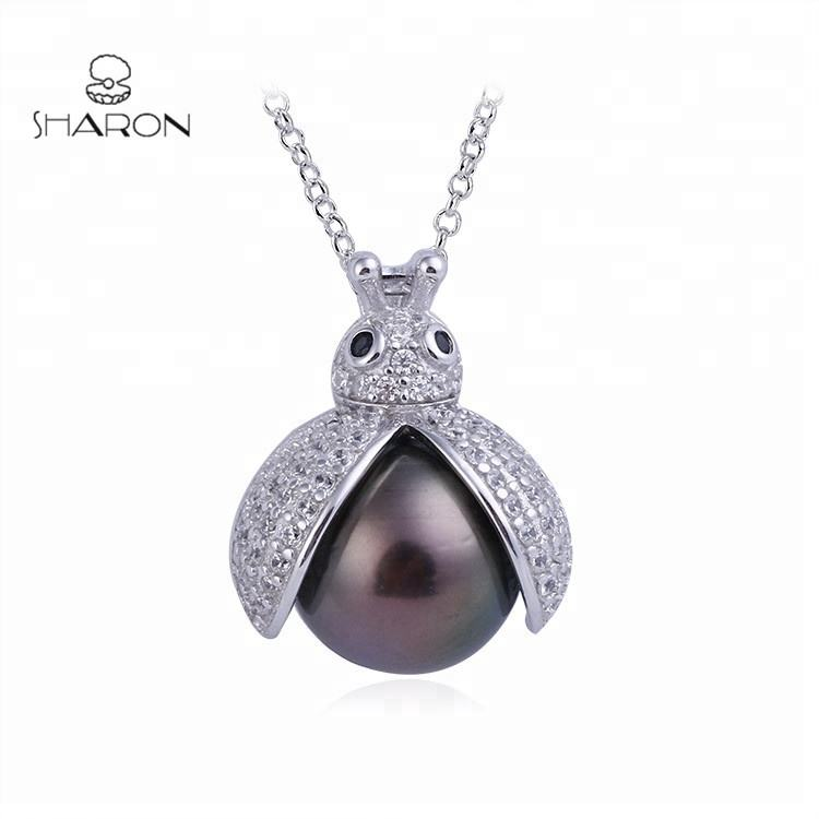 New Fashion Animal S925 Sterling Silver Insect Jewelry Freshwater Pearl Pendant Necklace