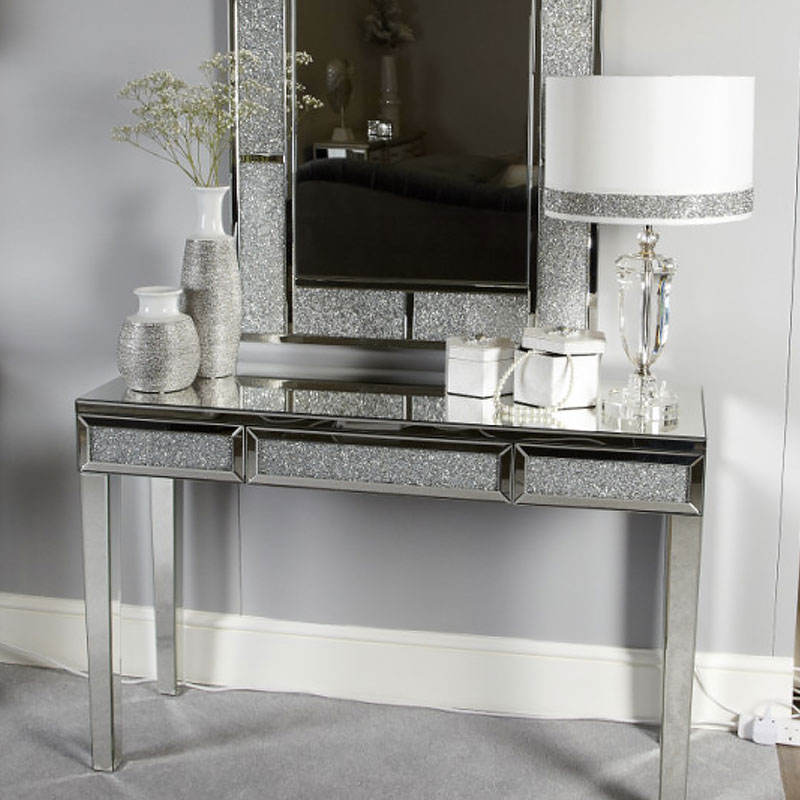 Diamond Crush Glitz 3 Drawer Mirrored Console Dressing Table